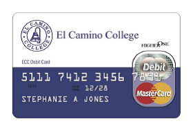 A blue and white debit card with the blue ECC logo and the red and yellow MasterCard logo.